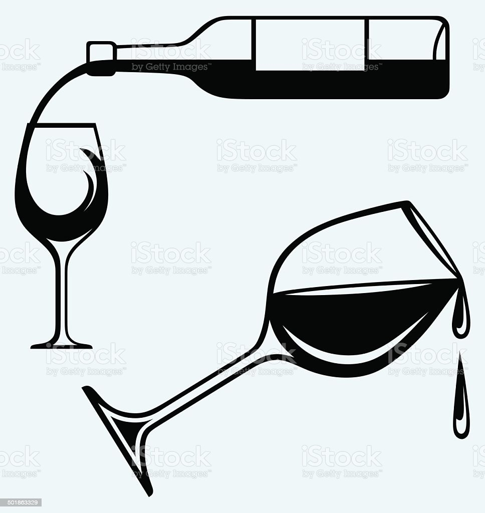 Wine pouring from bottle into glass vector art illustration