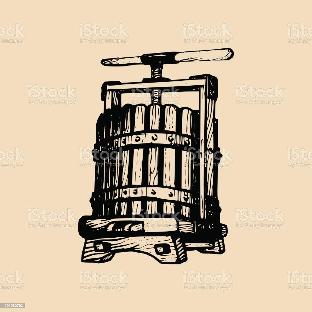Weinpresse Abbildung. Vektor-alkoholische Getränke-Label. Hand skizzierten Vinemaking Element im gravierte Stil. – Vektorgrafik