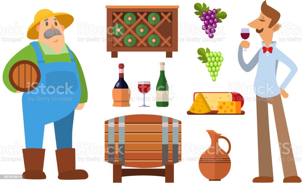 Wine production vector set. vector art illustration