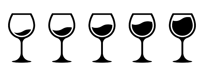 Wine quantity. Different wine quantity in glasses. Different shapes of wine glasses. Full and empty glasses. Glasses collection. Alcocol symbol. Drinking alcohol concept. Vector graphic. EPS 10