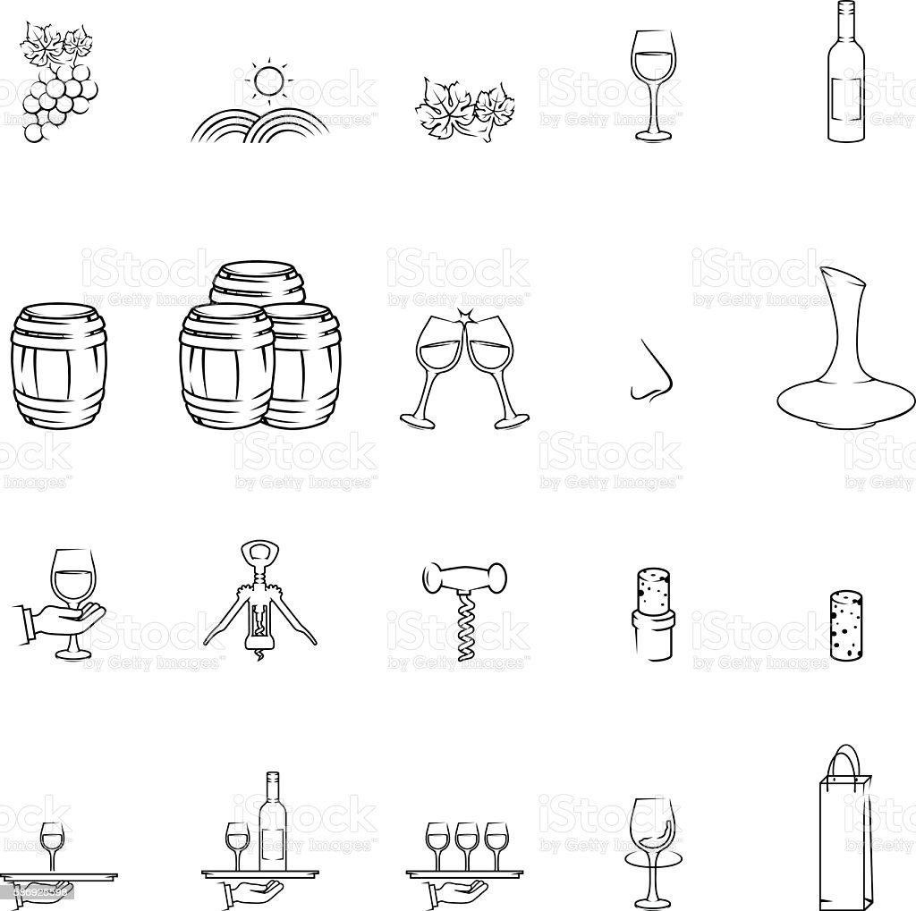 Wine related icons vector art illustration