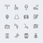 Wine related vector icon set in thin line style