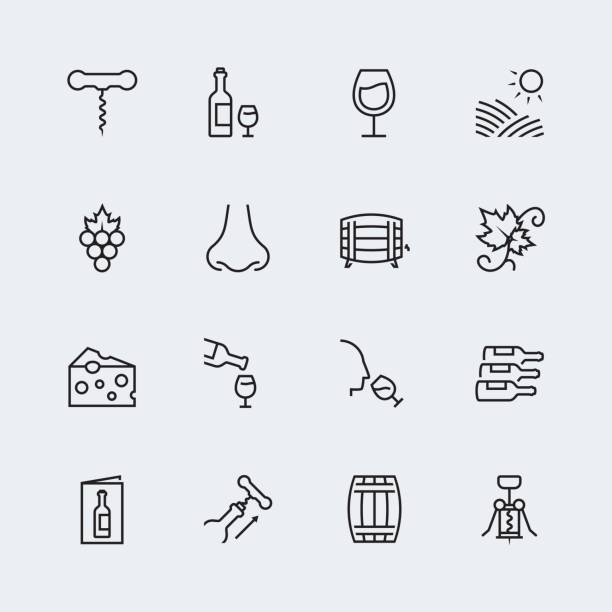 Wine related vector icon set in thin line style Wine related vector icon set in thin line style scented stock illustrations