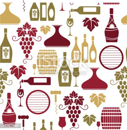 A seamless pattern of wine related icons. See below for an icon set of this file.