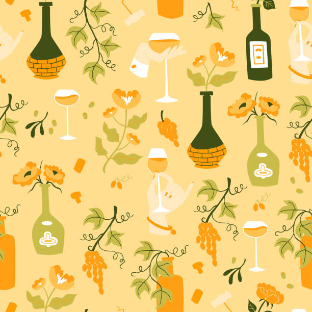 Wine Seamless Pattern with Bottles, Glass Wine and Grapes. Seamless Pattern with Hand Drawn Doodle Wine Illustrations. drawing of a glass liquor flask stock illustrations