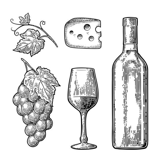 ilustrações de stock, clip art, desenhos animados e ícones de wine set. bottle, glass, cheese, bunch of grapes - queijo