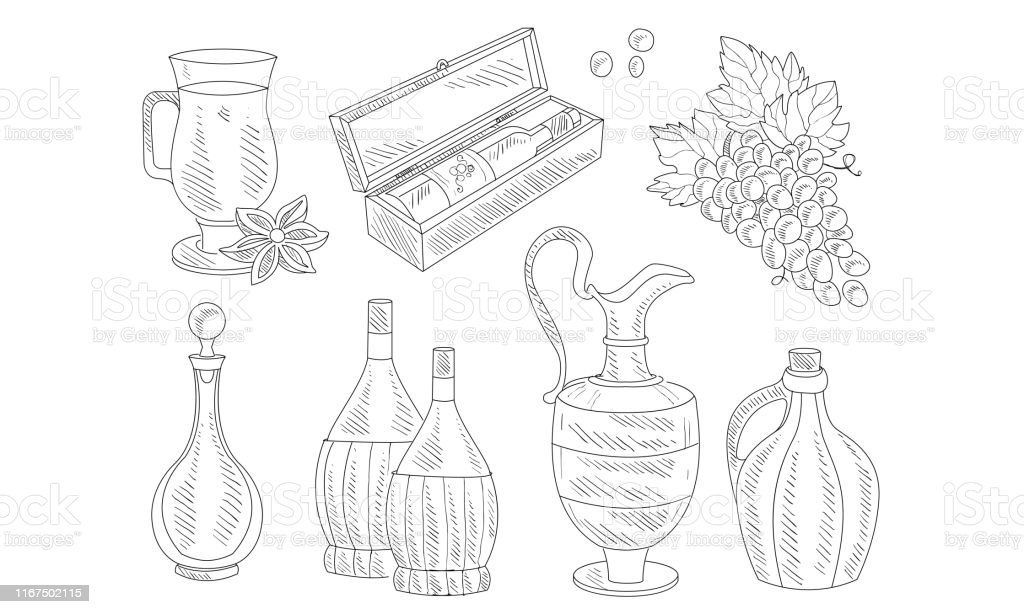 Wine Set, Hand Drawn Wine Objects, Various Bottles, Wineglass, Grapes...