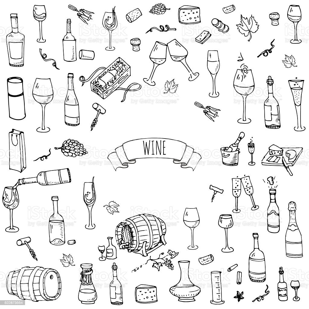Wine set icons vector art illustration