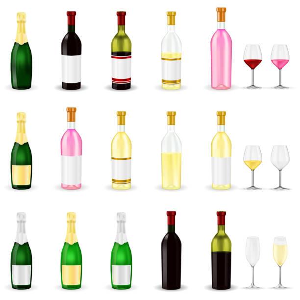 bildbanksillustrationer, clip art samt tecknat material och ikoner med vin. uppsättning av 3d vin och champagne flaskor och glas - vitt vin glas