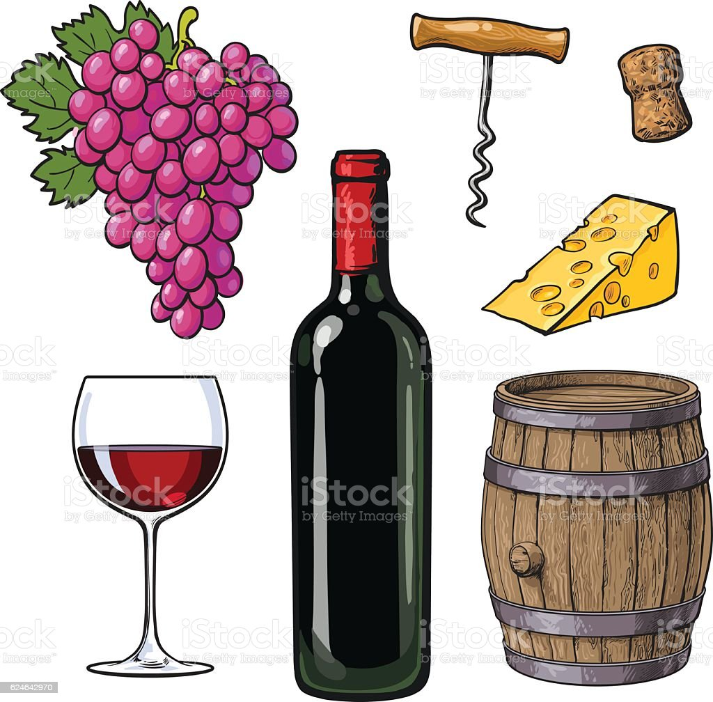 Wine set of bottle, glass, barrel, grapes, cheese, cork, corkscrew vector art illustration