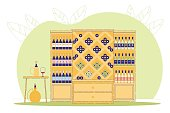 Wine Shop or Store, Alcohol Drink in Cupboard.