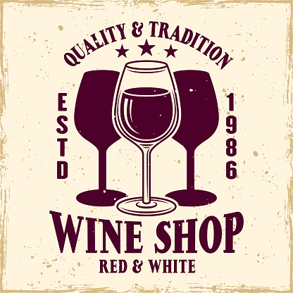 Wine shop vector colored emblem, label, badge or logo in vintage style with wineglass