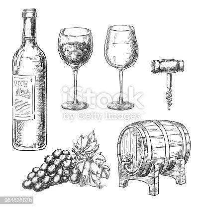 istock Wine sketch vector illustration. Bottle, glasses, grape vine, barrel, corkscrew, hand drawn isolated design elements. 954538678