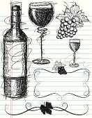 Sketchy, hand drawn wine bottle, wine glasses, grapes, and decorative vine scrolls on notebook paper. The artwork and paper are on separate labeled layers.