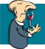 A cartoon man sniffing and tasting wine. Digitally hand drawn.