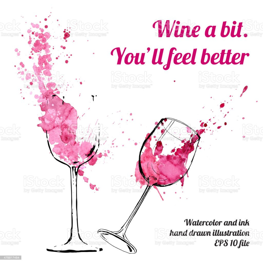 Wine splash and blots concept vector art illustration