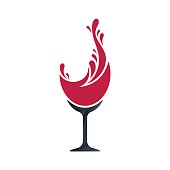 Wine glass and splashing symbol design. Concept design on white background. Vector illustration.