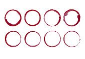 Wine stain circles. Coffee bottom glass ring spills templates. Vector isolated round paint grunge frames.