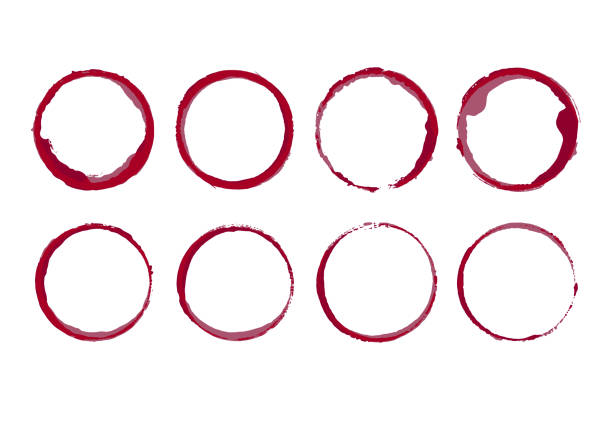 Wine stain circles. Coffee bottom glass ring spills templates. Vector isolated round paint grunge frames. Wine stain circles. Coffee bottom glass ring spills templates. Vector isolated round paint grunge frames. wine stock illustrations