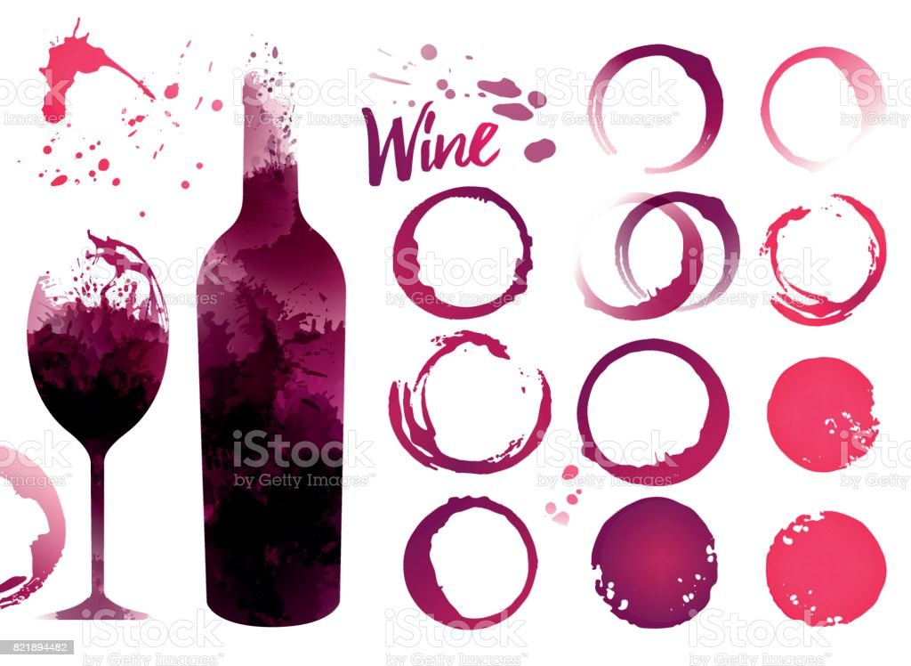 Wine stains set for your designs vector art illustration