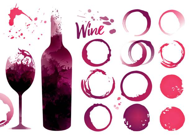 Wine stains set for your designs Wine stains set for your designs. Color texture red wine or rose wine. Illustration of glass and bottle of wine with stains. Vector wine stock illustrations
