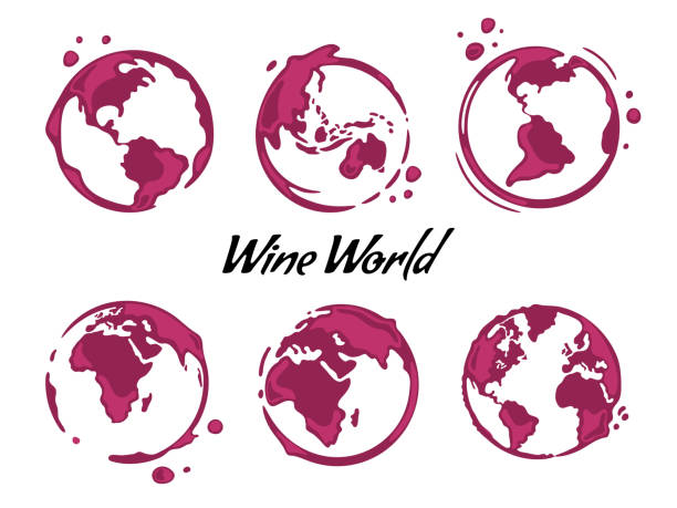 illustrazioni stock, clip art, cartoni animati e icone di tendenza di wine stains - glass world