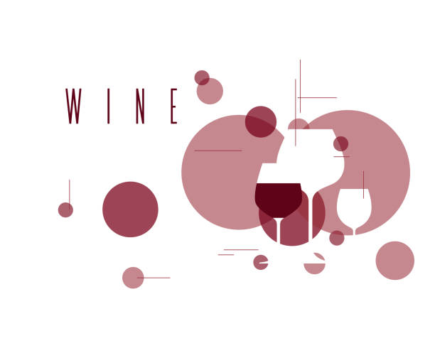 Wine symbol. Illustration with wineglasses. Design element for tasting, menu, wine list, restaurant, winery, shop. Label, sign, icon with  red grape wine. Wine symbol. Illustration with wineglasses. Design element for tasting, menu, wine list, restaurant, winery, shop. Label, sign, icon with  red grape wine. backgrounds clipart stock illustrations