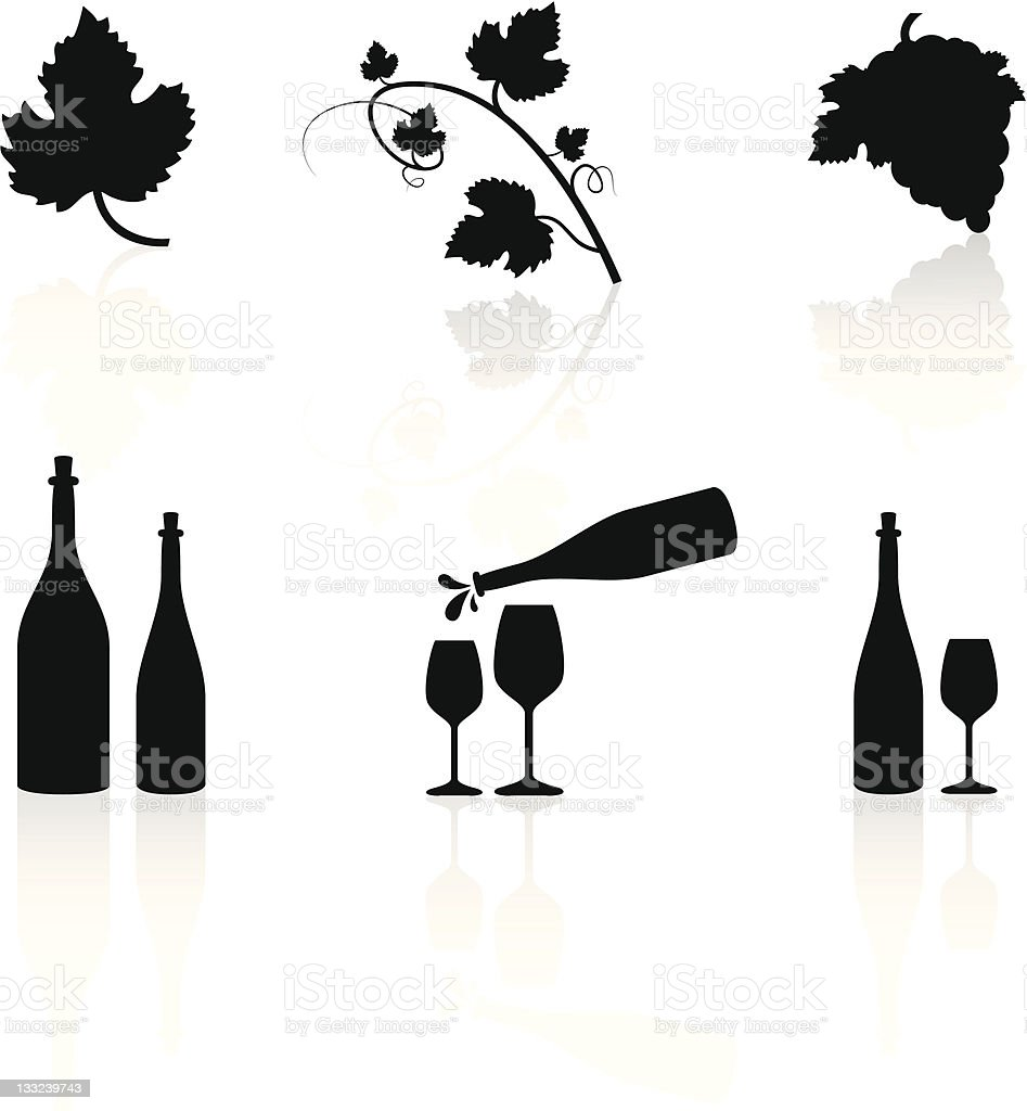 Wine Symbols vector art illustration