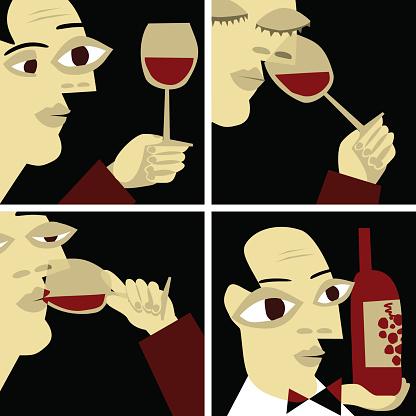 wine taste, sommelier vino gourmet illustration vector