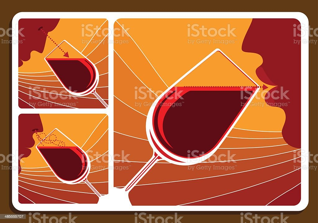 Wine tasting collage royalty-free stock vector art