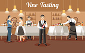 Wine Tasting Concept. Professional Staff holding Wine Bottle. Catering Service and Coctail Banquet. Order Drink Business. Alcohol in Wineglass and Snack. Vector Flat Illustration.