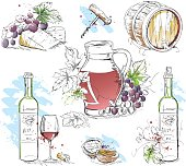 Collection of hand-drawn vector Still Lifes in ink & watercolor style. Wine tasting theme, Red Wine.
