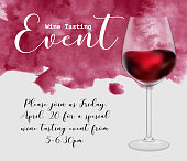 istock Wine tasting event flyer template, vector illustration. Transparent glass with red wine, handdrawn watercolour texture, calligraphic lettering, invitation graphic design. 984022742