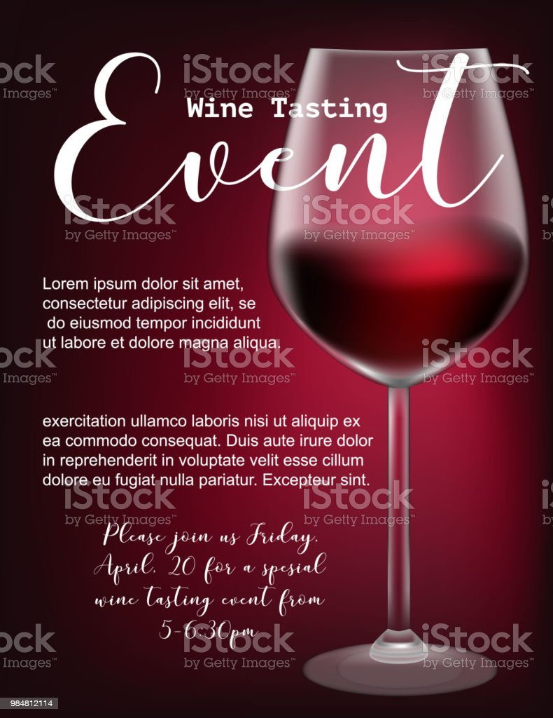 Wine tasting event flyer template vector illustration transparent wine tasting event flyer template vector illustration transparent glass with red wine calligraphic maxwellsz