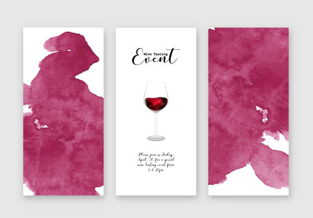 Wine tasting event flyers template, set, vector illustration. Handdrawn watercolour texture, glass with wine, calligraphic lettering, invitation graphic design Handdrawn watercolour texture, glass with wine, calligraphic lettering, invitation graphic design. Wine tasting event flyers template, set, vector illustration. wine stock illustrations