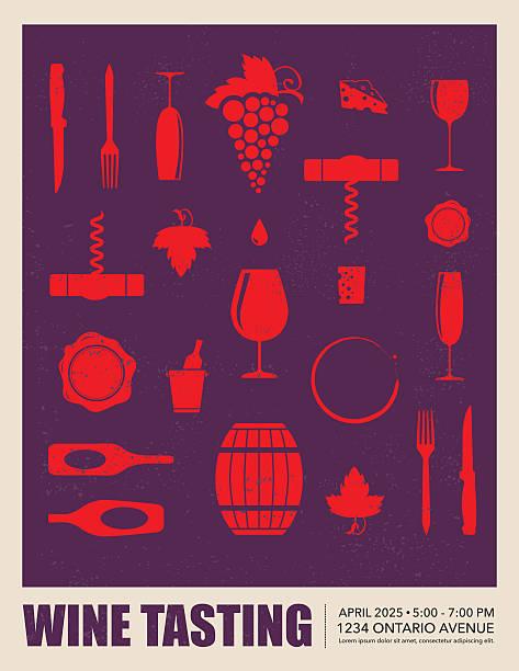 bildbanksillustrationer, clip art samt tecknat material och ikoner med wine tasting event poster - vitt vin glas