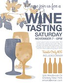 Wine Tasting Event Poster. Features trendy watercolor wine bottles and wineglasses. There is a grapevine across the top. Lots of room for text.