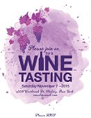 Wine Tasting Event Poster. Features trendy watercolor wine splash and grapes. There is a grapevine at the top. Lots of room for text.