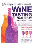 Wine Tasting Event Poster. Features trendy watercolor wine bottles and wineglasses. Lots of room for text.