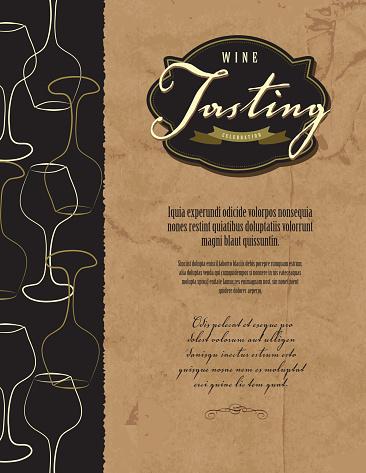 Wine tasting invitation or menu design template