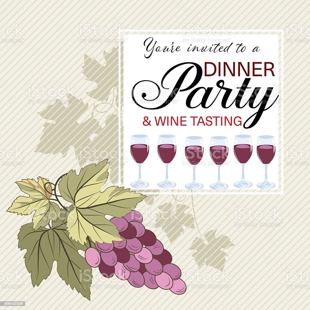 wine tasting party invitation on a striped background stock vector