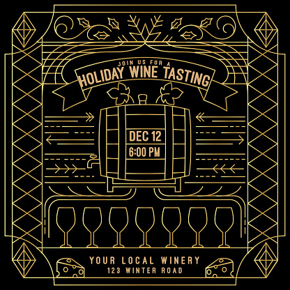 Wine Tasting Party Outline Pattern Background