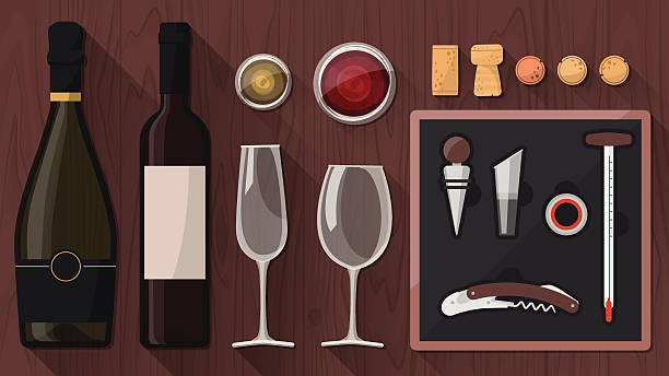 stockillustraties, clipart, cartoons en iconen met wine tasting toolkit - kurk