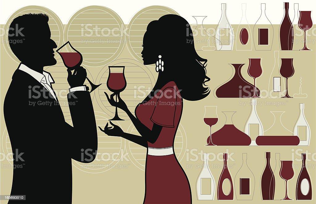 Wine Tasting vector art illustration