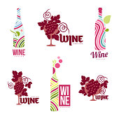 Wine logo templates for your design. Bottle, glass, bunch of grapes. Wine badges, labels. banners, advertisements, brochures, business templates. Vector illustration isolated on white backgroundWine templates for your design. Bottle, glass, bunch of grapes. Wine badges, labels. banners, advertisements, brochures, business templates. Vector illustration isolated on white backgroundWine templates for your design. Bottle, glass, bunch of grapes. Wine badges, labels. banners, advertisements, brochures, business templates. Vector illustration isolated on white background