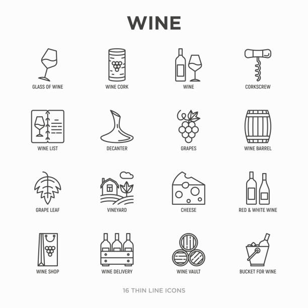 Wine thin line icons set: corkscrew, wine glass, cork, grapes, barrel, list, decanter, cheese, vineyard, bucket, shop, delivery. Modern vector illustration. Wine thin line icons set: corkscrew, wine glass, cork, grapes, barrel, list, decanter, cheese, vineyard, bucket, shop, delivery. Modern vector illustration. wine stock illustrations