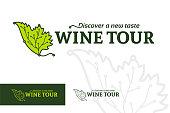 Wine tour logotype, rural tourism emblem, ethno-tourism logo, map point travel destinations on grape leaf line silhouette, vector illustration