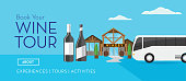 Vector illustration of Wine tours and tasting banner template designs. Includes sample text. Easy to edit. Includes tour bus.