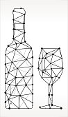 Wine  Triangle Node Black and White Pattern. The main object depicted in this royalty free vector illustration is created with the triangular line pattern. The individual lines form nodes with small circles on each of the vertices. The background is white with a slight gradient around the edges.