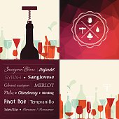 Wine type illustration on red abstract triangle background. With rubber stamp, wine icons and wine bottle. Eps10.